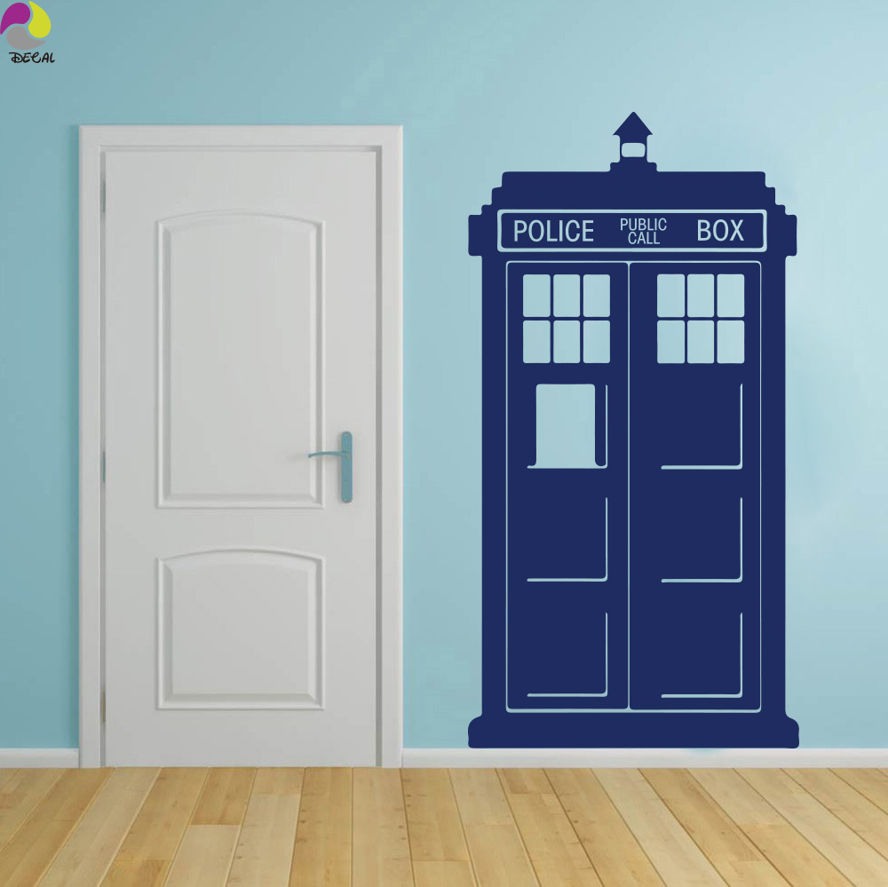 tardis doctor who style wall sticker kids room baby nursery tv wall decal living room police box. Black Bedroom Furniture Sets. Home Design Ideas