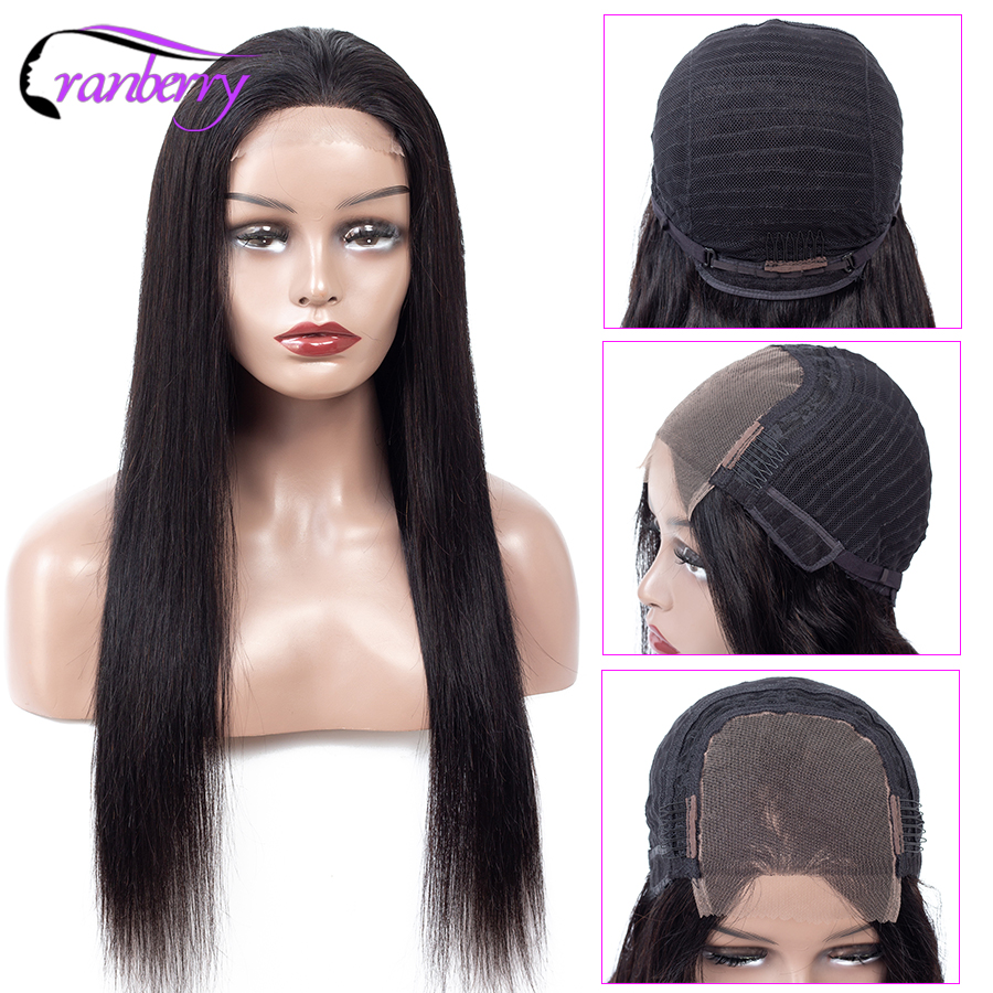 Cranberry Hair 4X4 Closure Wig 100% Remy Hair Brazilian Wig Lace Closure Wig Straight Human Hair Wigs For Black Women 10 24 Inch-in Lace Front Wigs from Hair Extensions & Wigs    3