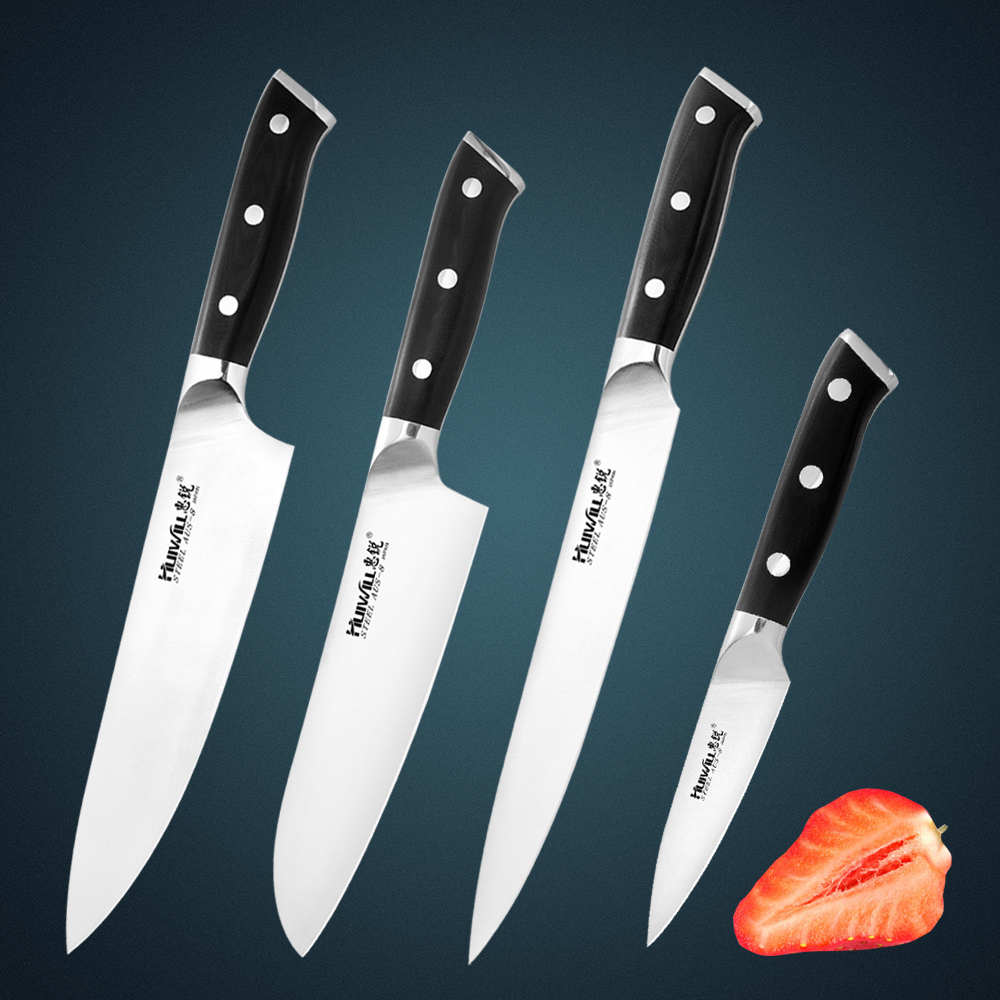 New Huiwill High quality Japanese AUS 8 Stainless Steel Kitchen Chef knife Slicing Santoku Kitchen Knife