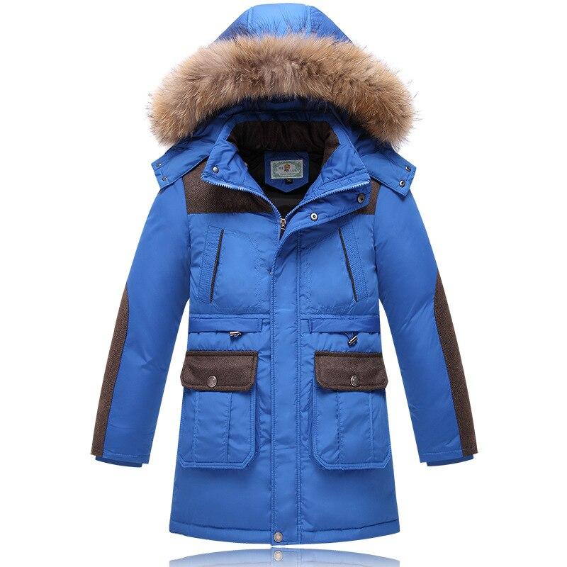 2016 Higt Quality Winter Boys Down Parka Coats Fashion Big Fur Collar Long Thick Warm Outerwear