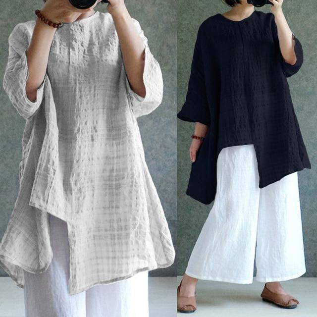 62cd24a9aa3 ZANZEA Plus Size Women Blouse Vintage Linen Top 2018 Summer Long Sleeve  Plaid Split Baggy Blusa