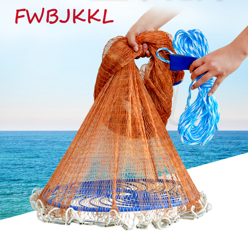 High Strength 4 8m Catch Fishing Net American Style Cast Net Small Mesh Outdoor Throw Fishing