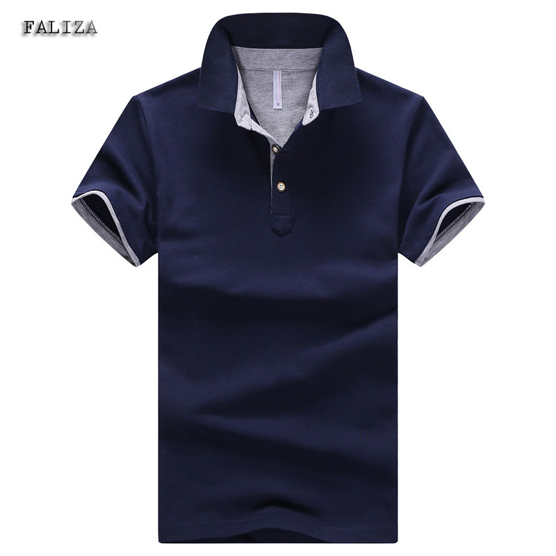 FALIZA 2018 Solid New Cotton Polos Shirts Men Turn-down Collar Polos Men 4XL Casual Short Sleeve Camisas Polos Summer TX-104