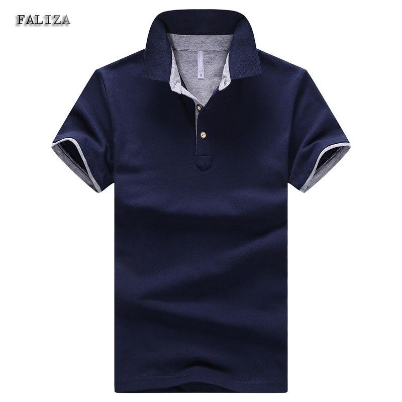 FALIZA 2018 Solid New Cotton   Polos   Shirts Men Turn-down Collar   Polos   Men 4XL Casual Short Sleeve Camisas   Polos   Summer TX-104