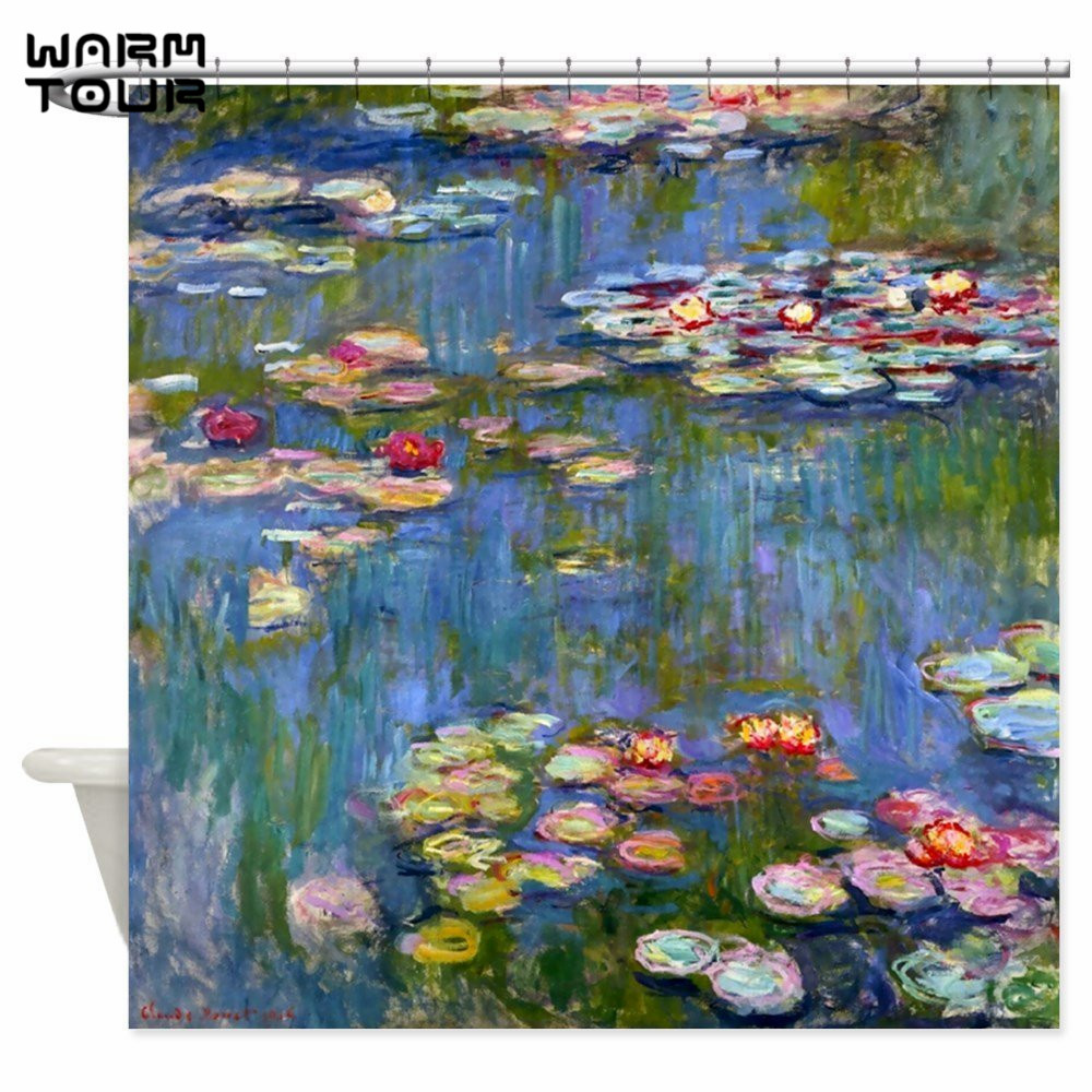 Warm Tour Water Lilies By Claude Monet Fabric Shower Curtain Polyester Waterproof Mildew Resistant Bathroom Curtain WTC063