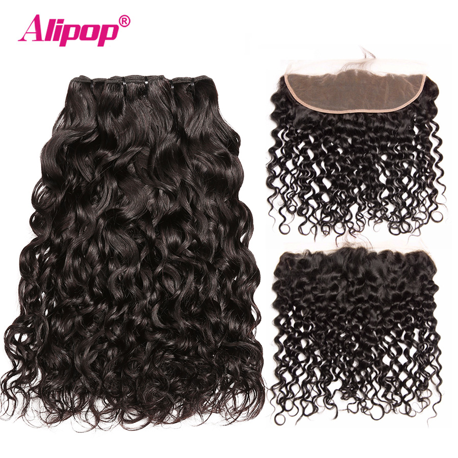 Water Wave Hair With Closure Frontal 3 Bundles With Frontal 13x4 ALIPOP 100 Human Hair 10
