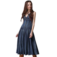 Spring Summer Women S Denim Cotton Dress Fashionable Elegant Female Vintage Dress With V Neck Collar