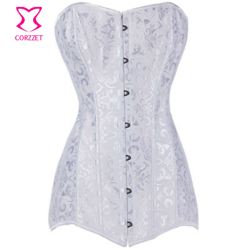 Burlesque White Bridal Jacquard Overbust   Bustiers     Corset   Long Sexy Lingrie Waist Training Body Shaper Gothic Steel Boned   Corset