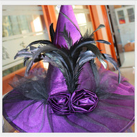 2016 Cool Adult Women Purple And White Witch Hat For Halloween Costume Accessory Hot Sale Costume