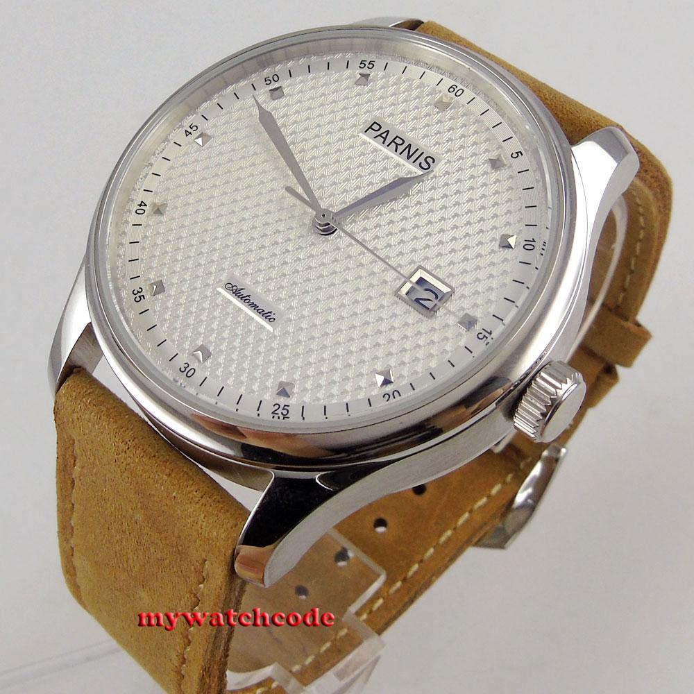 43mm parnis cadran blanc date fenêtre en cuir sea-gull 2551 automatique mens watch 522