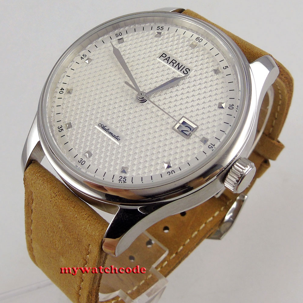 43mm parnis white dial date window leather sea-gull 2551 automatic mens watch 522 цена и фото