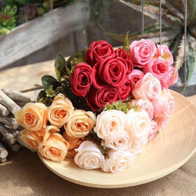 Sutra Buatan 6 Bunch Bunga Buket Mawar Bunga Palsu dengan Daun Mengatur  Meja Bunga Aster Rumah 6771211c27