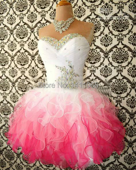 Red And White Evening Dress: White And Pink Ombre Corset Organza Beaded Cheap