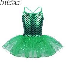 5963b558be Inlzdz Kids Girls Ballet Mermaid Dress Bling Glitter Pattern Printed Tutu Dress  Ballerina Dance Gymnastics Leotard