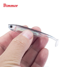 Bimmor Fishing Soft Lures 2.1g 75mm for Shad Worm Swimbaits Jig Head Bait 6pcs/lot