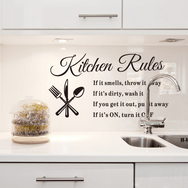 Diy Removable Wall Stickers Kitchen Rules Decal Home House Accessories Beautiful Pattern Design Decoration Pvc Vinyl