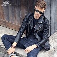 Enjeolon brand PU Motorcycle coats men Leather Jacket Men fashion Clothing zippered black leather coats P310
