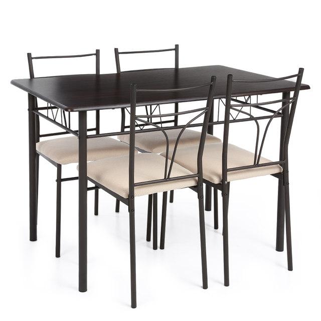IKayaa 5PCS Dining Set Modern Metal Frame Dining Kitchen Table Chairs Set  For 4 Person Kitchen Furniture US FR DE Stock