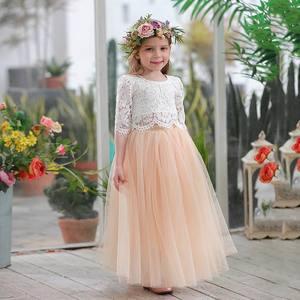 Image 4 - 2019 봄 여름 세트 여자 하프 슬리브 레이스 탑 + 샴페인 핑크 롱 스커트 아동복 0 10T E17121