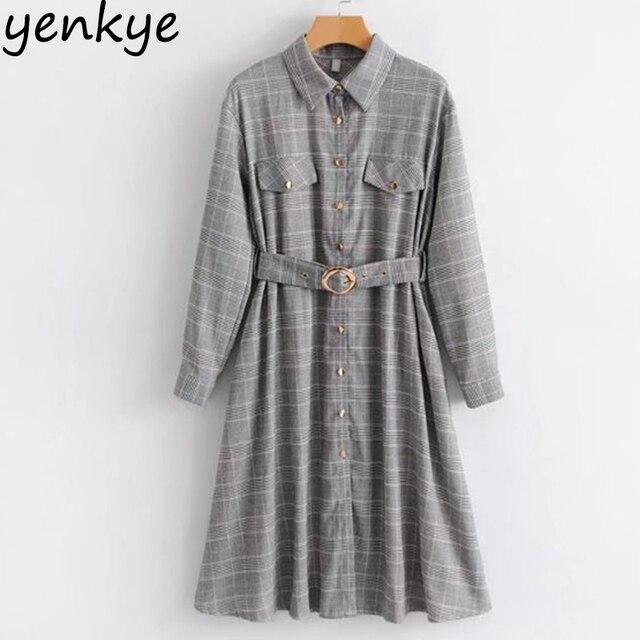 7ee4289e8b9 Spring Dress 2018 Women Vintage Houndstooth Shirt Dress Lady Long Sleeve  With Belt A-line