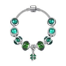 Green Luxury Crystal DIY Beads Bracelet & Bangle Brand Women Bracelet Unique 925 Charm Bracelet For Women Jewelry Gift недорого