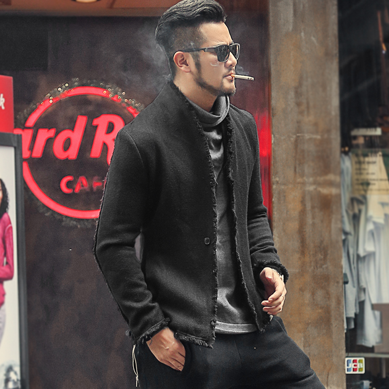 New Spring Retro Black Fur-trimmed Casual Slim Black European Style Suit For Men Stand Collar Men Suit Blazer Brand F8288