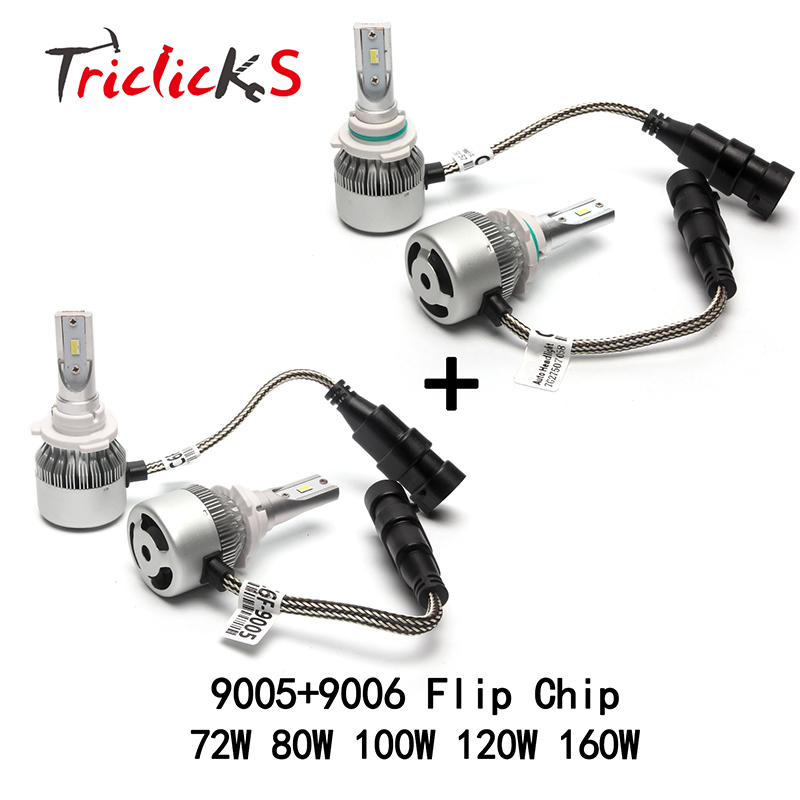 Triclicks 9005/HB3 9006/HB4 LED Car Headlights 9005 9006 12V Hi-Lo Headlight Bulb 6000K Imported Flip Chips Fog Light DRL Bulbs