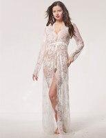 Summer Sexy Lace Night Dress Transparent Babydoll Lingerie Nighty Women Nightwear Maxi Lace Robe Femme Ete