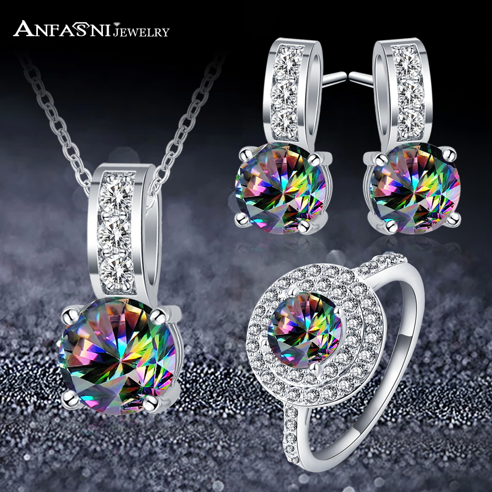 ANFASNI High Quality Rainbow Zircon Wedding Jewelry Sets Earrings Necklace Ring with Multicolor Stones Fashion Gifts For Women