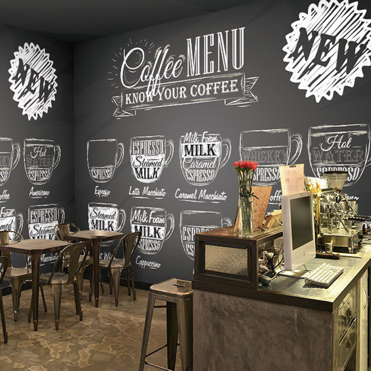 Custom Size Photo Personalized Glass Blackboard Wallpaper Restaurant Bar Cafe KTV Food Shop Background Breakfast
