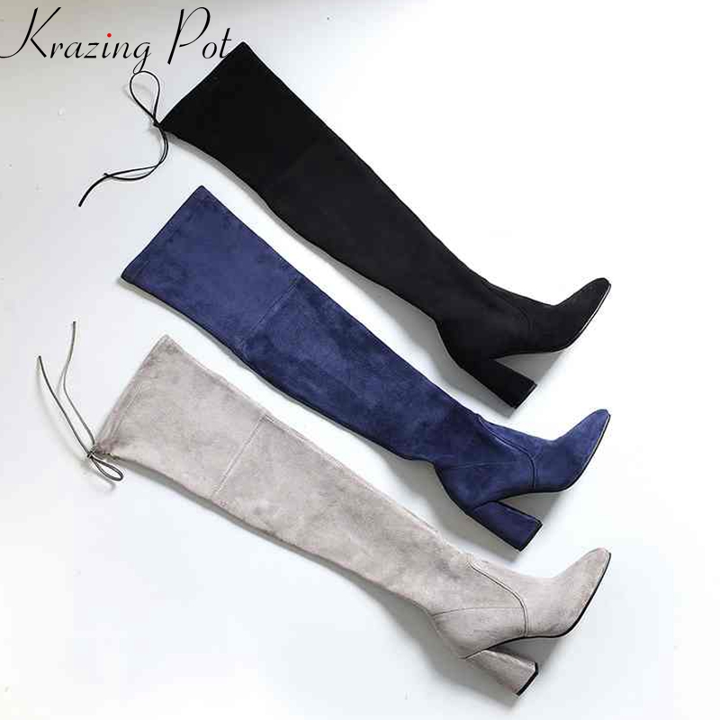 Krazing Pot fashion sheep suede flock stretch thigh high boots streetwear thin leg beauty lady riding over the knee boots L17