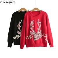 Free Inspirit 2018 New Fashion Winter Women Christmas Elk Pattern Pullover Sweater Fawn Knitting Warm Bottoming Shirt Sweater