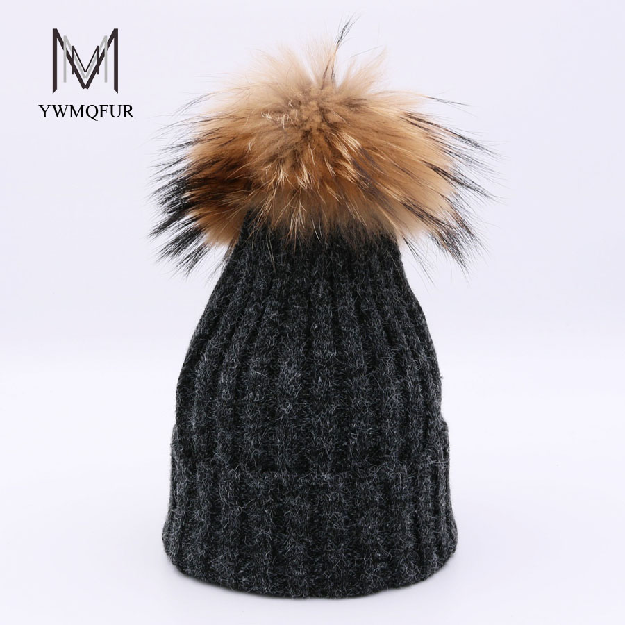 YWMQFUR Rabbit wool hats with really raccoon ball cap pom poms winter hat for women knitted beanies caps female cap gorros H121 milyfurer women hat rex rabbit fur colour mixture ball pom poms winter hats for women s knitted beanies cap winter female cap