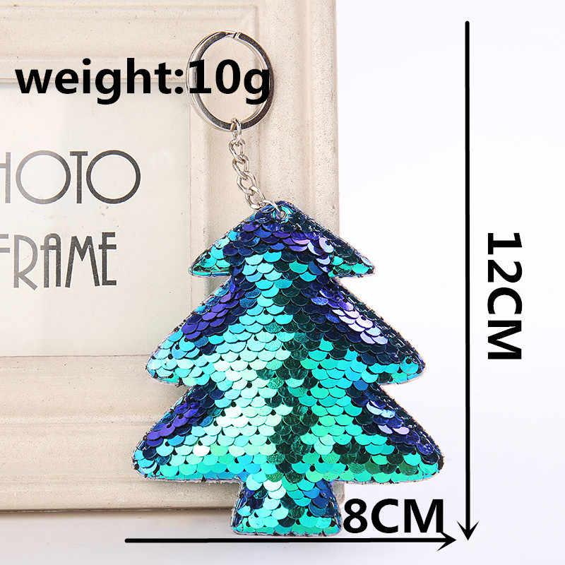 Рождественская елка Единорог кошка брелок Блестящий помпон блестки Подарочная цепочка для ключей женщин Llaveros Mujer автомобильный мешок аксессуары на кольцо для ключей