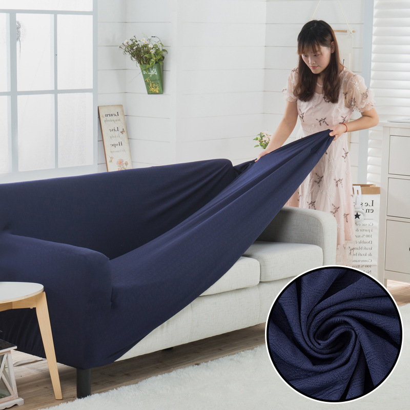 US $34.38 33% OFF|Blue Striped Sofa Cover Knitted Thicken Slipcover Corner  Sofa Cover Solid Stretch Furniture Covers Elastic Sectional Couch Cover-in  ...