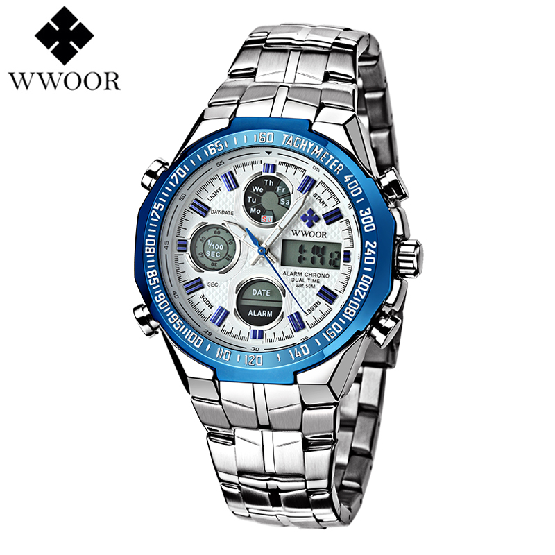 Watch Men Top Luxury Brand WWOOR Male Army Military Quartz Wrist Watches Stainless Steel Strap Waterproof Sports Clock bailishi top luxury brand men watches diamonds hour stainless steel sports wrist watch male causal quartz male watch waterproof