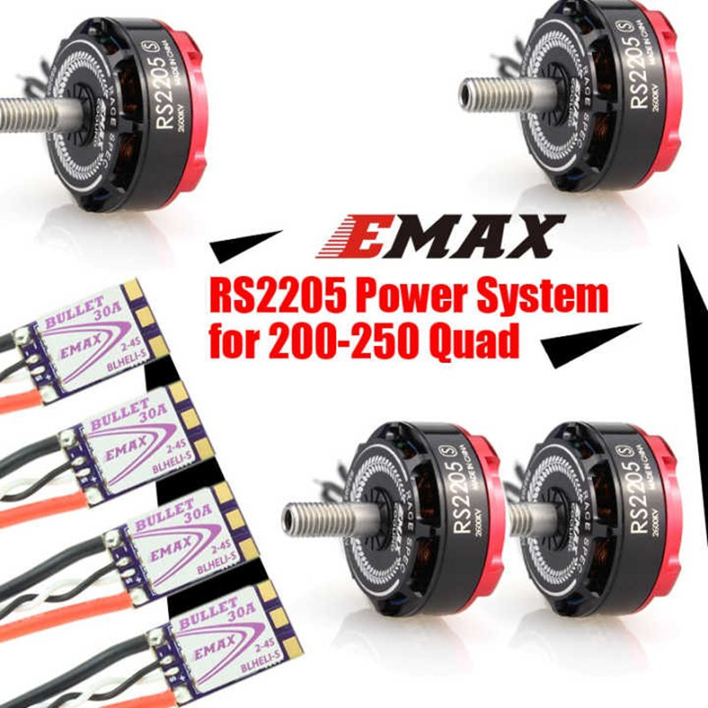 EMAX RS2205 S 2300KV/2600KV CCW Brushless Motor Dshot BLHeli-S Bullet 30A ESC Power Combo For FPV Racing Drone Quadcopter emax f4 magnum tower parts bullet 30a 4 in 1 blheli s esc 2 4s built in current sensor for rc multicopter models motor frame