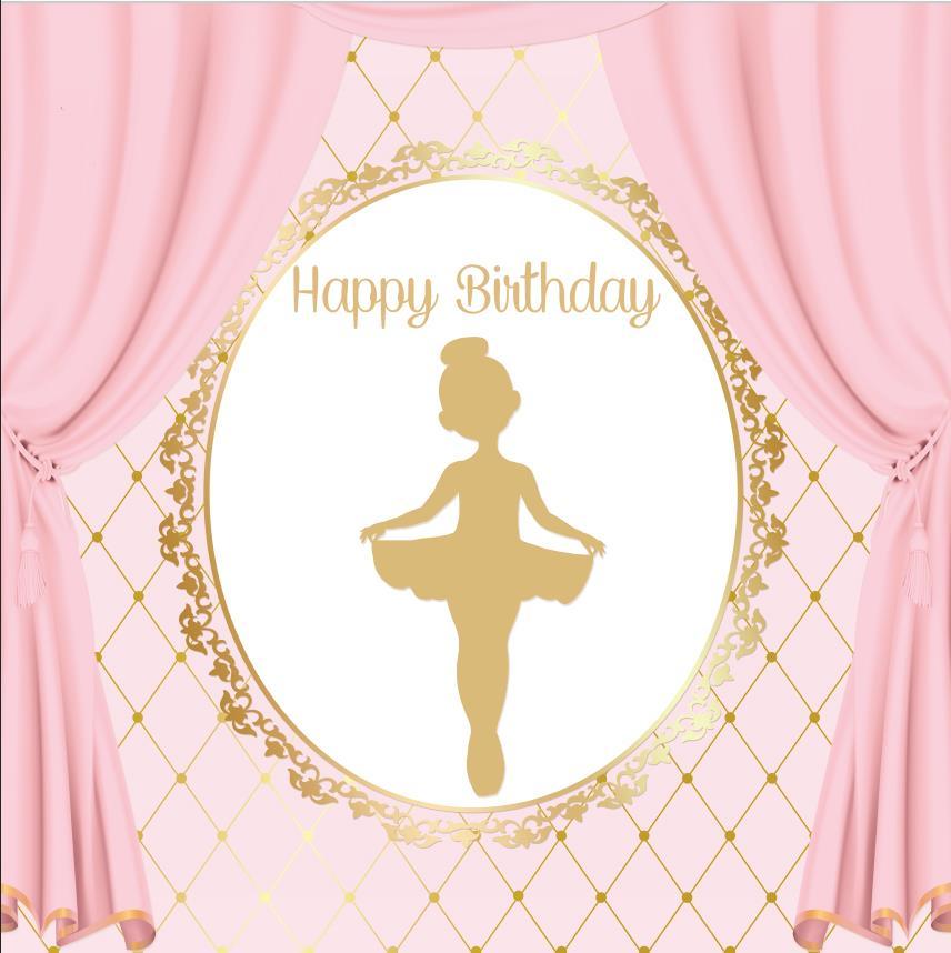 Pink Curtains Wall Ballet Princess Gold Frame Vinyl Cloth