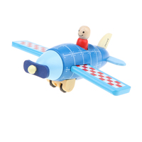 DIY Wooden Assembled Magnetic Vintage Plane with Pilot Model Kids Educational Toy Birthday Xmas Gift