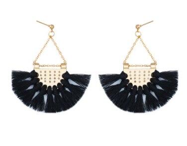 Этнический стиль Модные веерообразные серьги с кисточками в богемном стиле серьги ювелирные изделия - Цвет: Черный