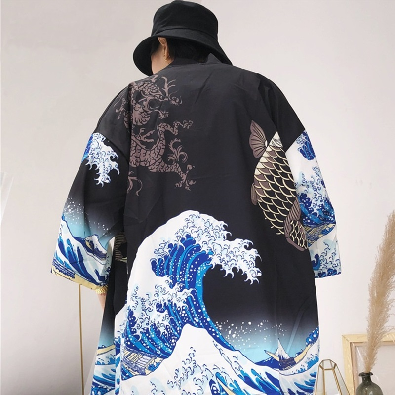 Kimono cardigan men Japanese obi male yukata men's haori Japanese samurai clothing traditional Japanese clothing ZZ0003(China)