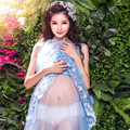 ZTOV Maternity Photography Props Blue Lace Maxi Dress Pregnant Cotton Voile Dress Props Pregnancy Photo Shoot Long Dress