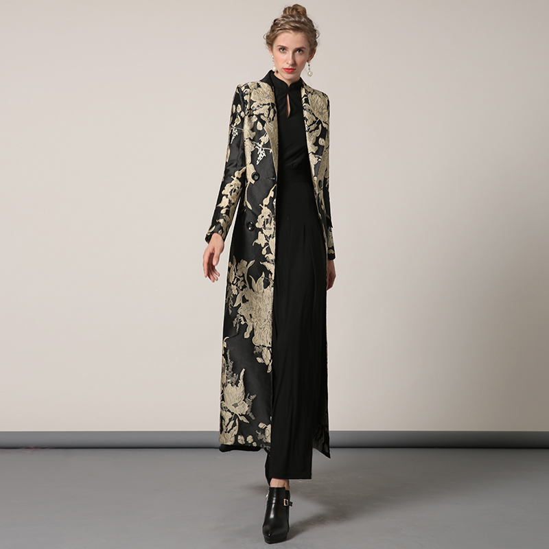 S-XXXL Autumn Winter Jacquard Long Coat Golden Florals Plus Size Luxury   Trench   Women Double Breasted Muslim Outwear Coat 6359