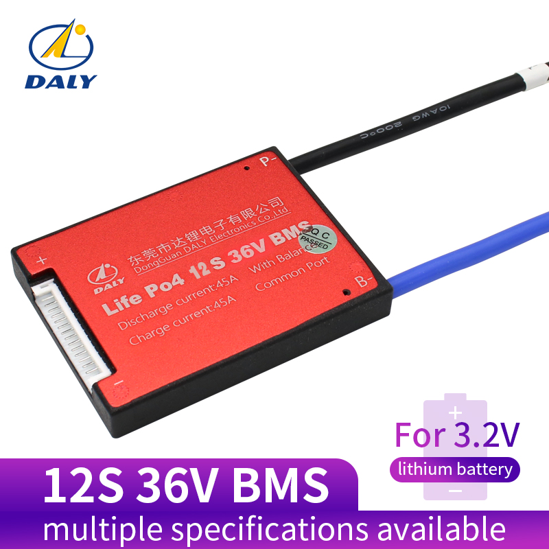 Daly 12S 36V 15A 20A 25A 35A 45A 60A Waterproof BMS For Lifepo4 Battery With Same Port Or Separate Port For Lithium Battery