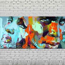 Palette knife portrait Face Oil painting Character figure canva Hand painted Francoise Nielly wall Art picture for living room38