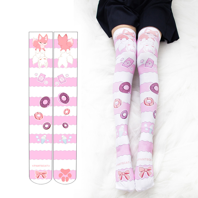 Kawaii Doughnuts Fox Printed Stockings with  Cat Paw Anime Lolita Socks Cute Japanese Coplay Thigh High Over the Knee Stocking