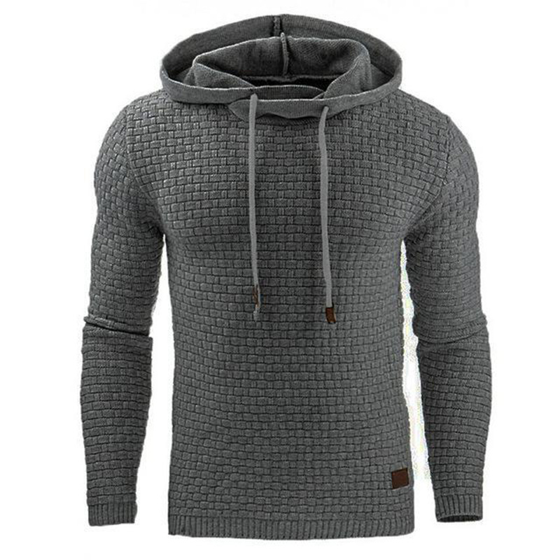 Drop Shipping Men Hooded Sweatshirt Solid Color Pl...