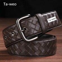Cinturón de cuero trenzado para hombre y mujer, 100% Unisex de cuero genuino, informal, 3,5 CM de ancho y calidad superior