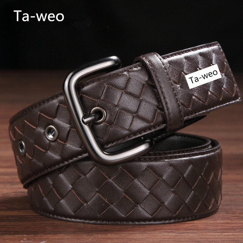 Fashion Braided Unisex 100% Genuine Leather Belt Casual Belts For Women & Men's Jeans Leather Belt Width 3.5CM Top Quality