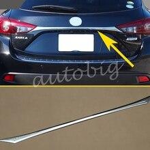 Глянцевая хромированная Задняя Крышка багажника для Мазда 3 хэтчбек BM BN отделка задней крышки ворот аксессуары